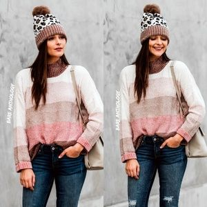 Mock Neck Colorblock Chenille Sweater